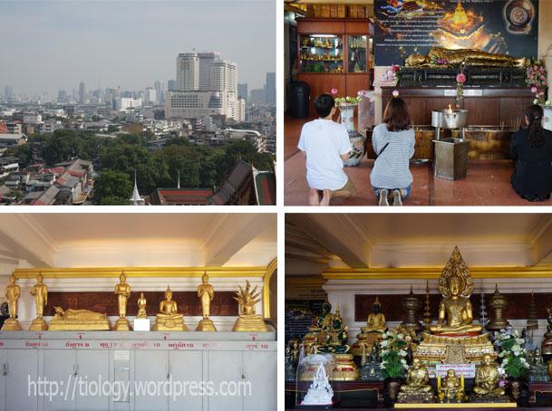 Pemandangan dari atap Golden Mountain - Orang beribadah di dalam Golden Mountain - Altar - Sikap Budha